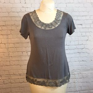 Cream gray lace-trimmed scoop neck tee